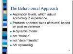 the behavioural approach29