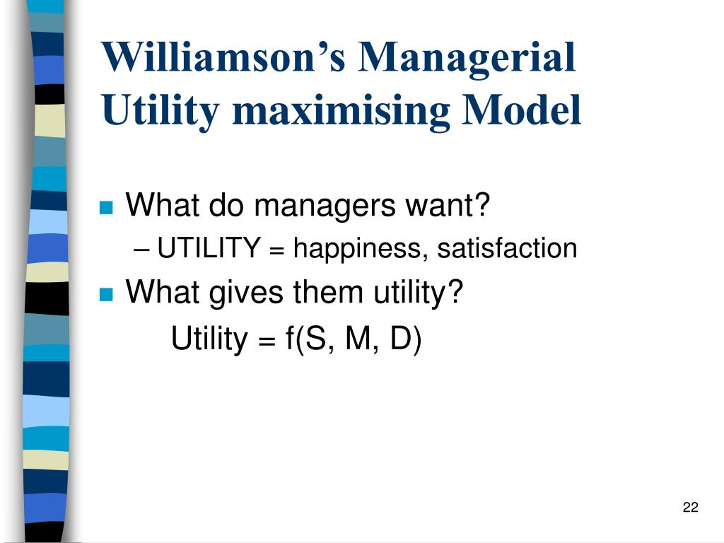 Williamson's Managerial Utility maximising Model