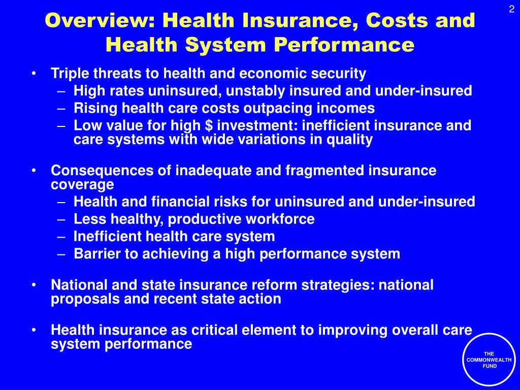 Overview: Health Insurance, Costs and Health System Performance