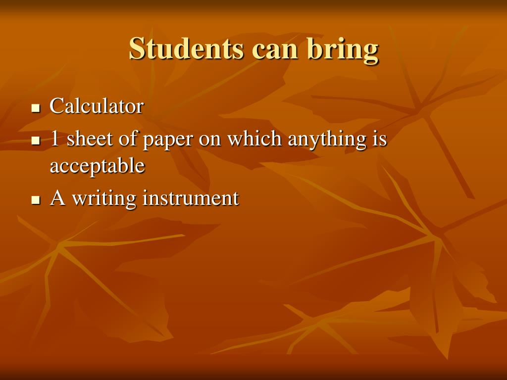 Students can bring