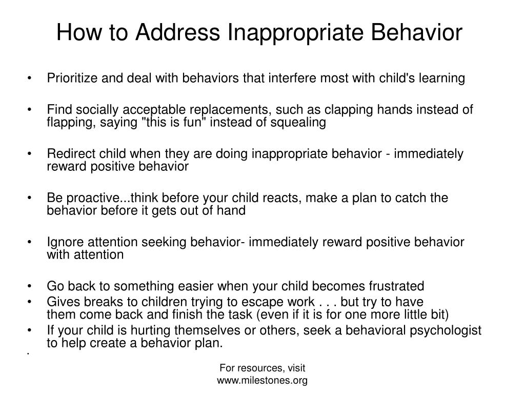 Prioritize and deal with behaviors that interfere most with child's learning