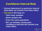 confidence interval note