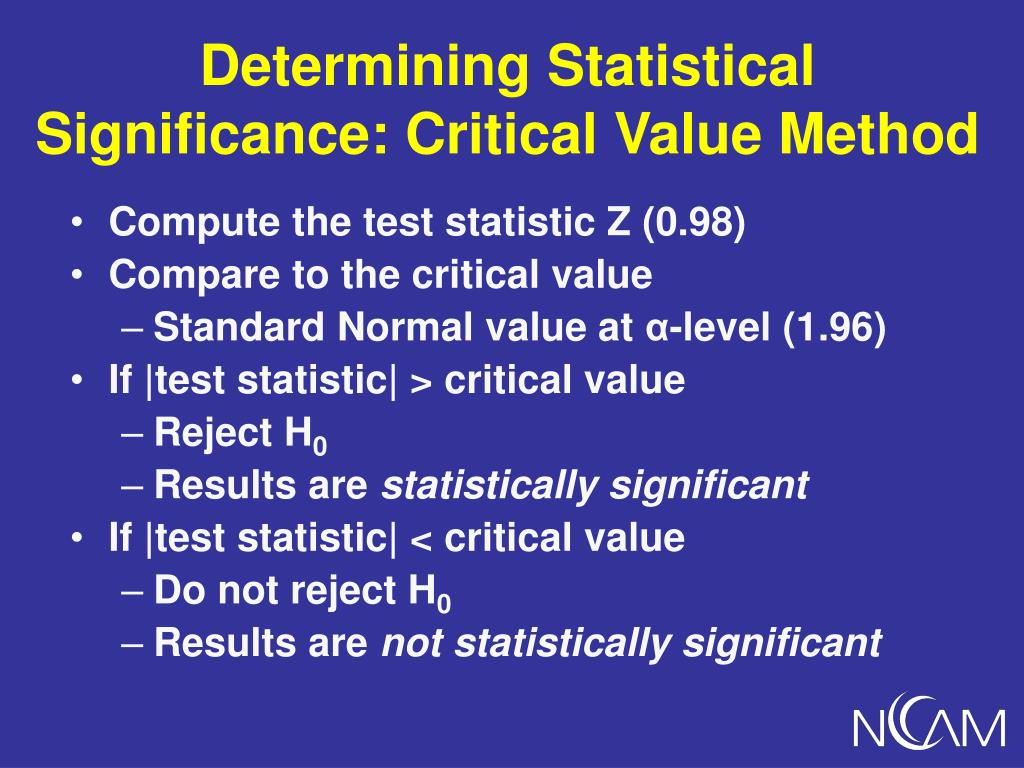 Determining Statistical Significance: Critical Value Method