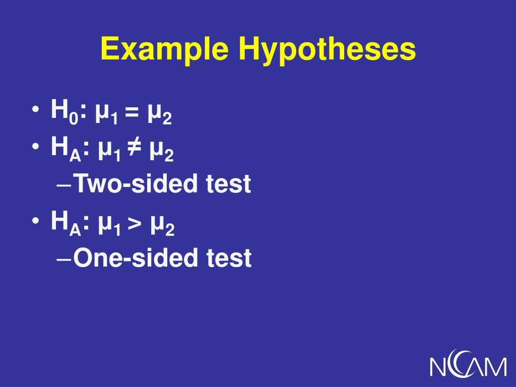 Example Hypotheses
