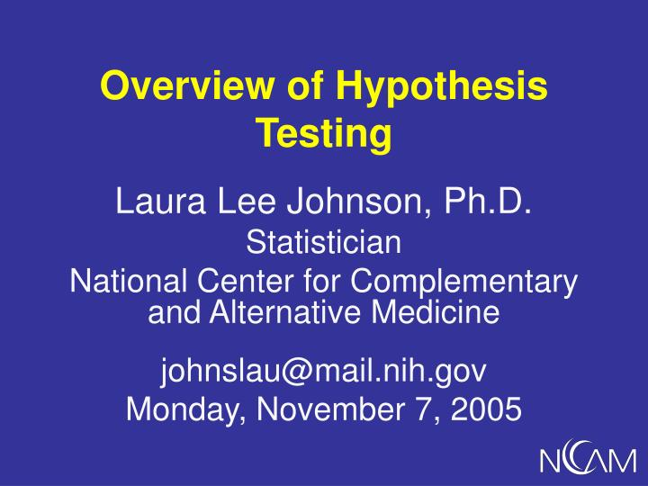 Overview of hypothesis testing l.jpg