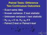 paired tests difference two continuous outcomes