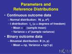 parameters and reference distributions