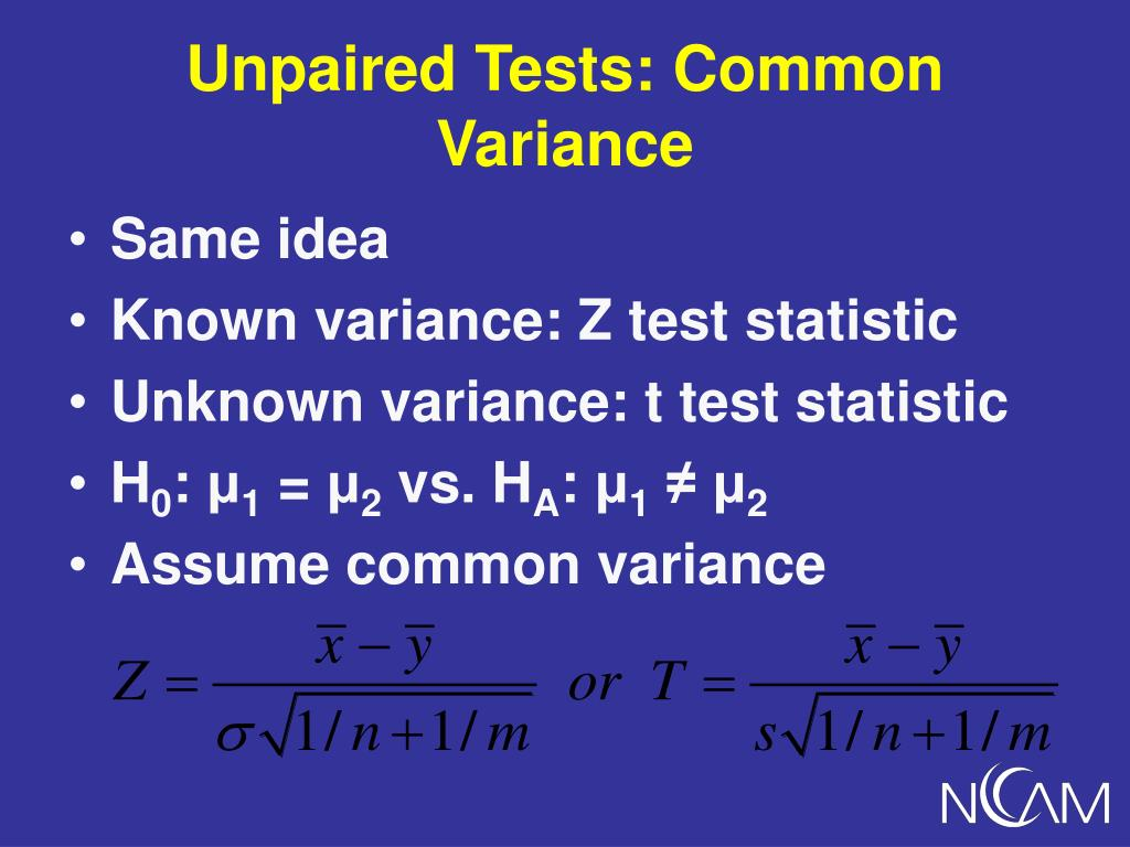 Unpaired Tests: Common Variance