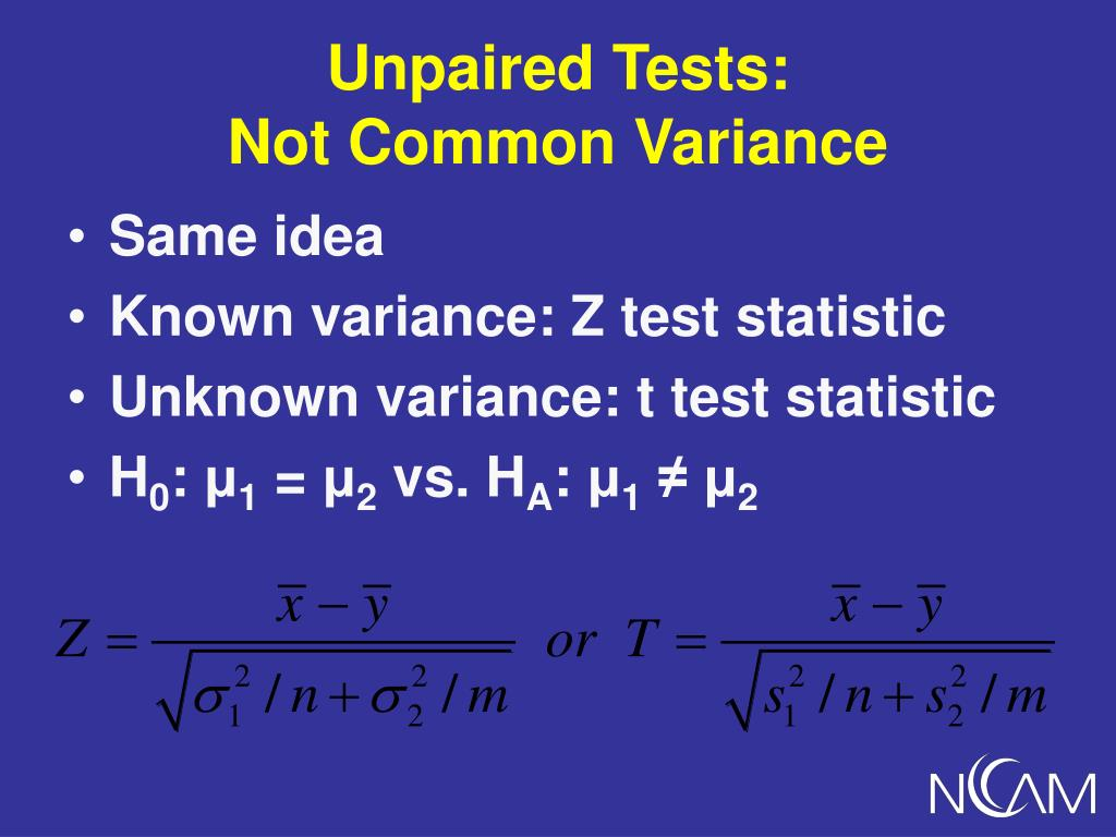 Unpaired Tests: