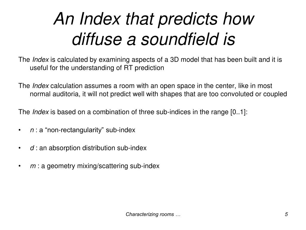 An Index that predicts how