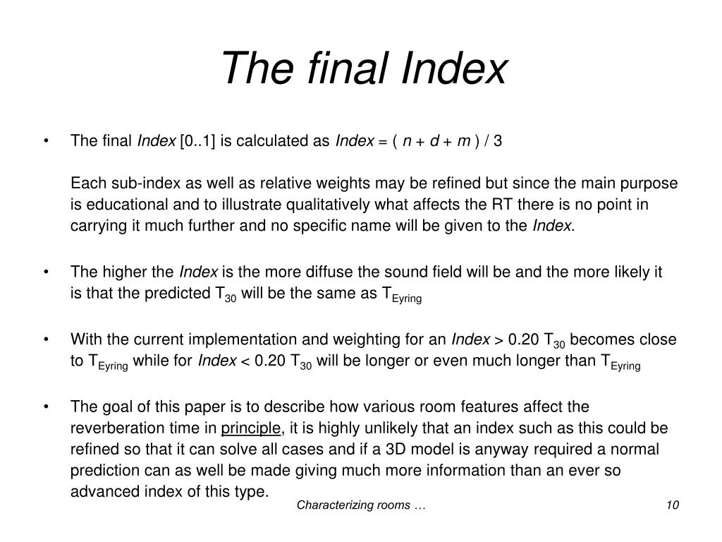 The final Index