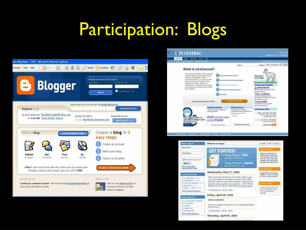 Participation:  Blogs