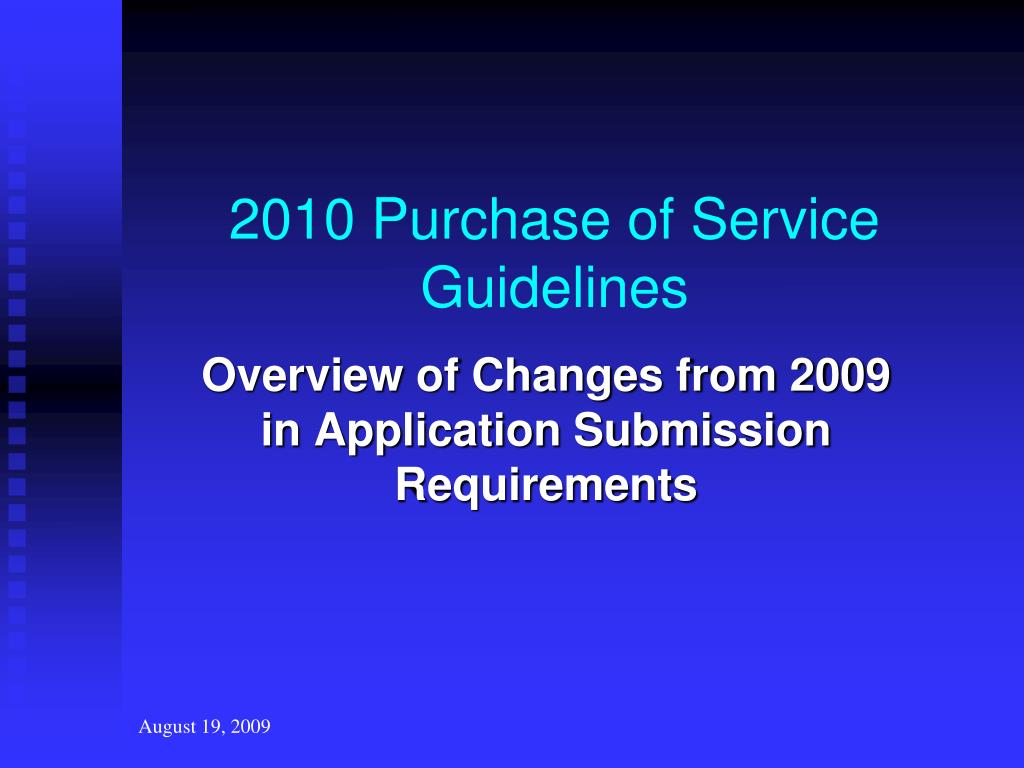 2010 Purchase of Service Guidelines
