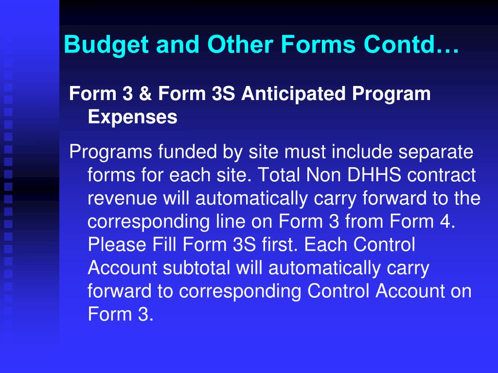 Budget and Other Forms Contd…