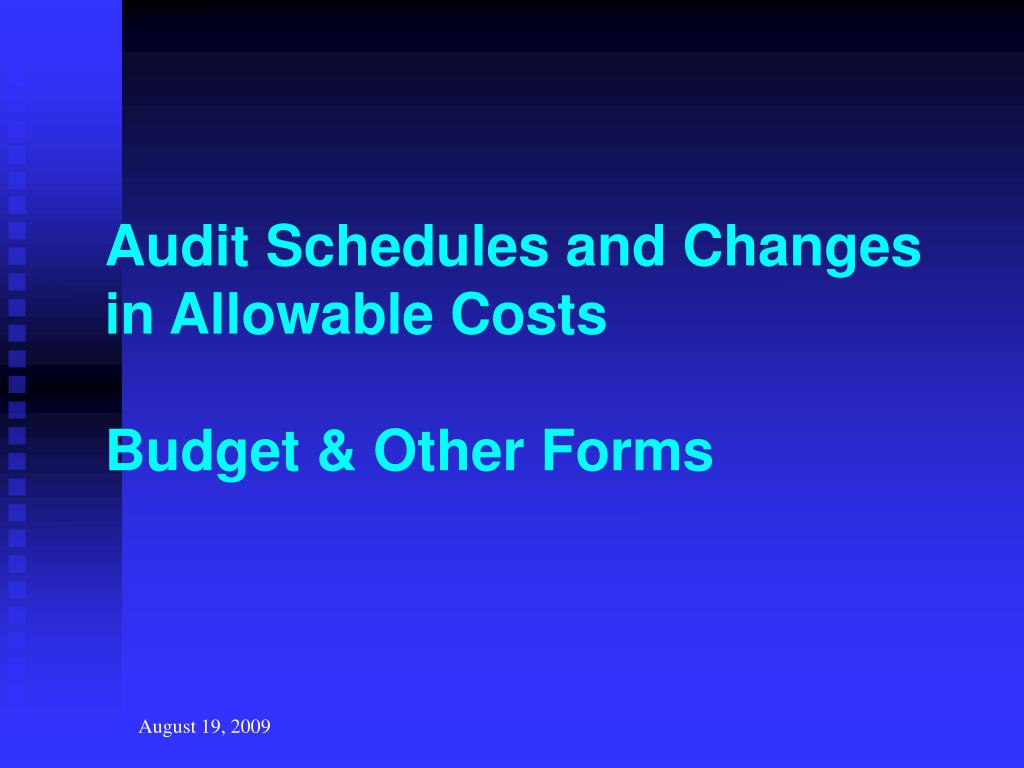 Audit Schedules and Changes in Allowable Costs