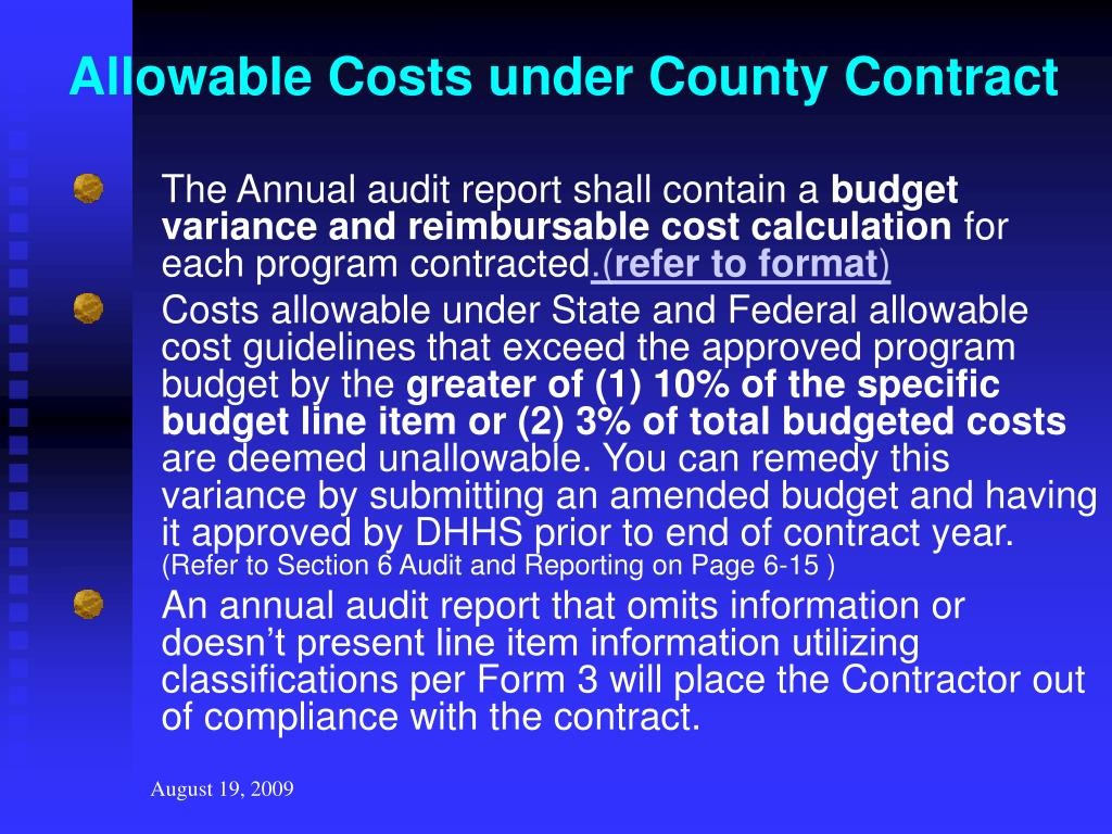 Allowable Costs under County Contract