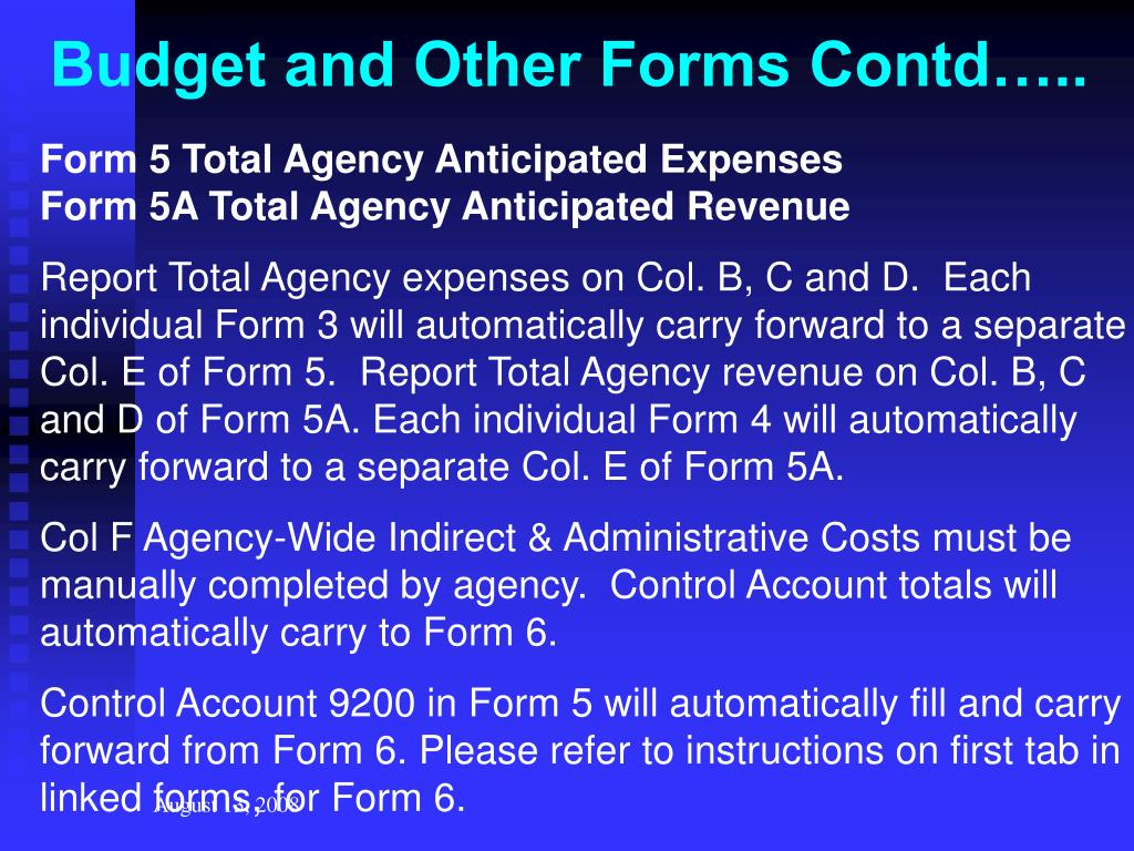 Budget and Other Forms Contd…..