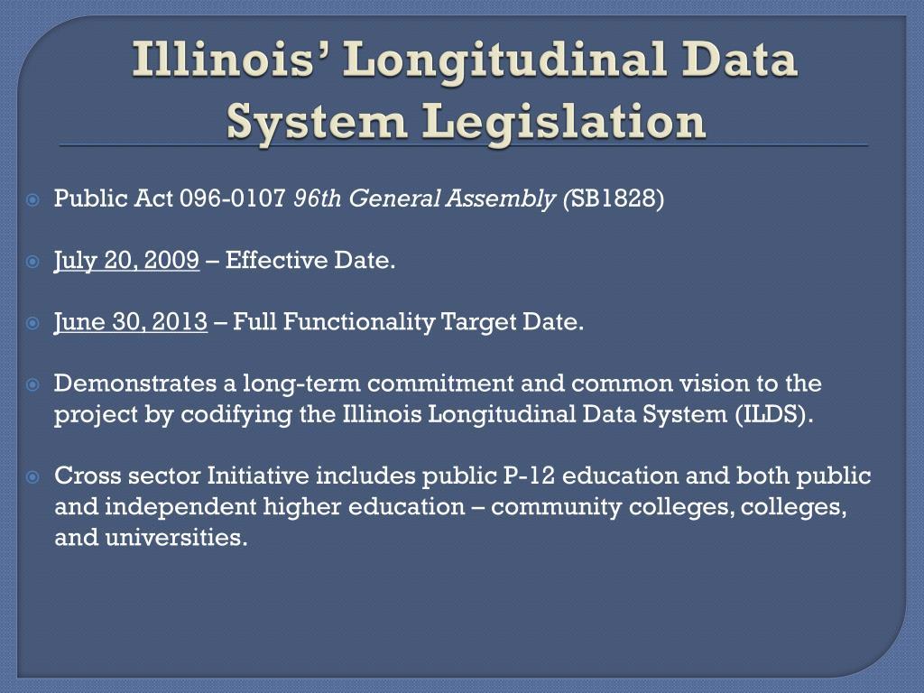 Illinois' Longitudinal Data System Legislation