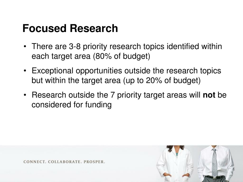 There are 3-8 priority research topics identified within each target area (80% of budget)