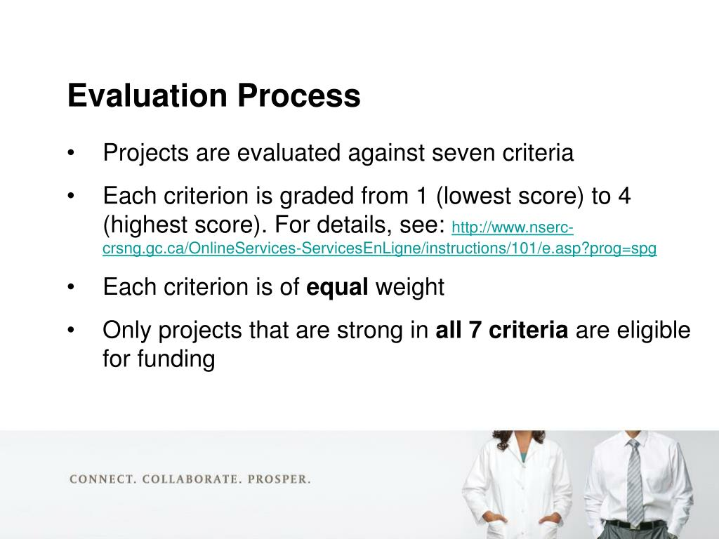 Projects are evaluated against seven criteria