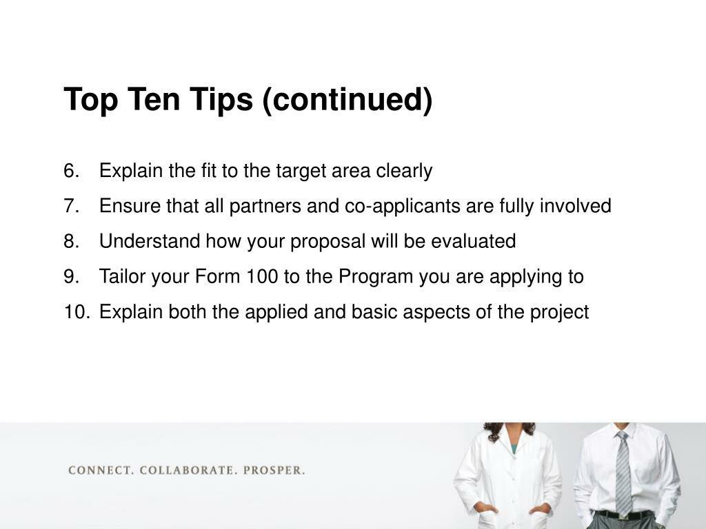 Top Ten Tips (continued)