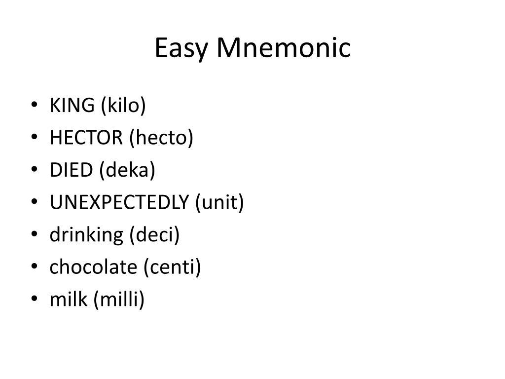 Easy Mnemonic