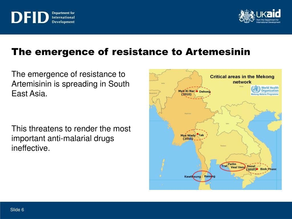 The emergence of resistance to Artemesinin