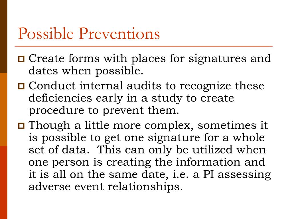 Possible Preventions