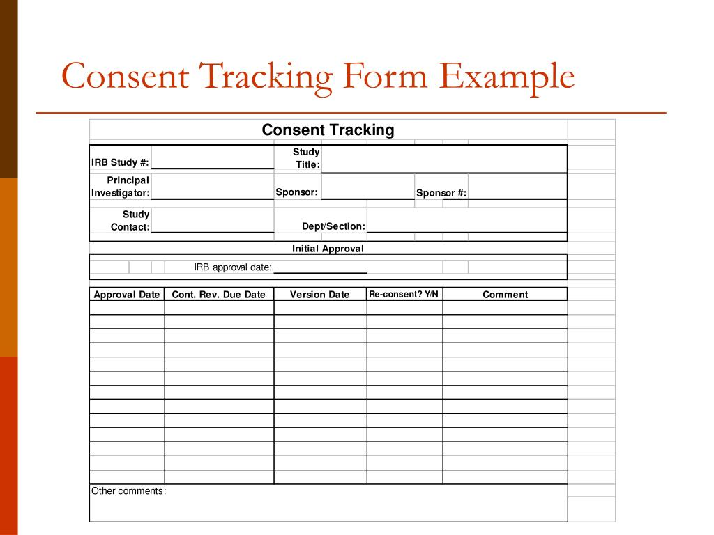 Consent Tracking Form Example