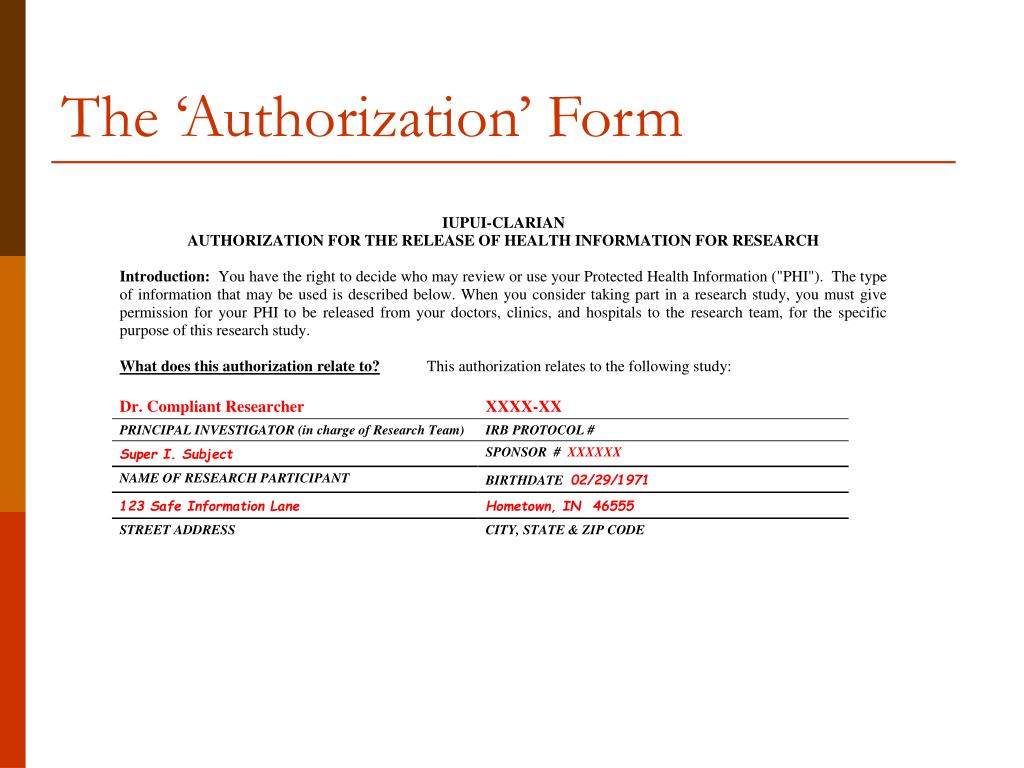 The 'Authorization' Form