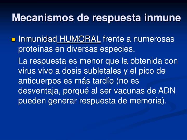 Mecanismos de respuesta inmune