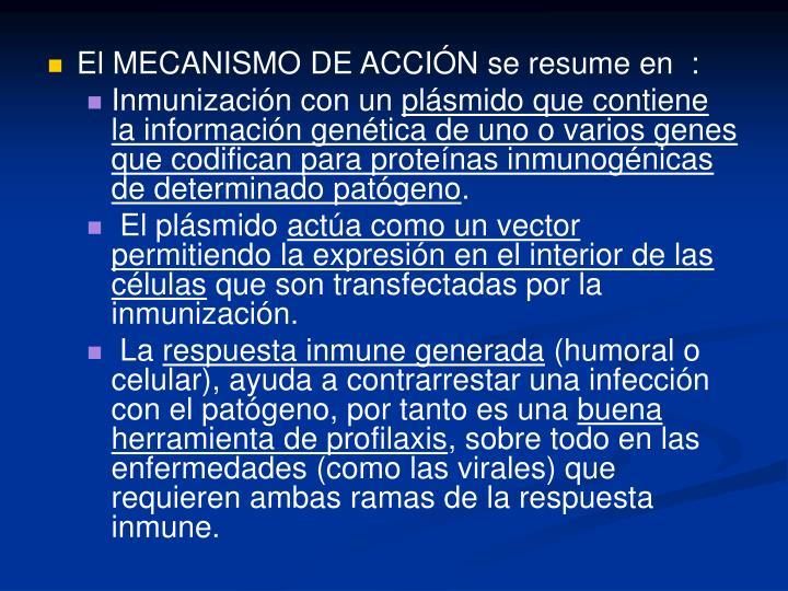 El MECANISMO DE ACCIÓN se resume en  :