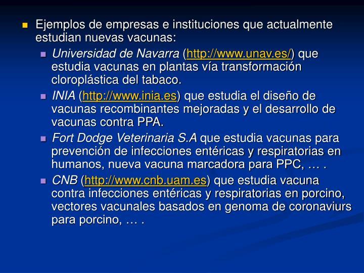 Ejemplos de empresas e instituciones que actualmente estudian nuevas vacunas: