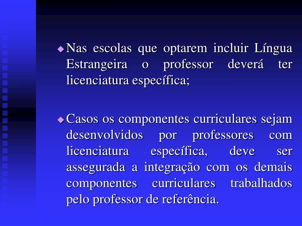Nas escolas que optarem incluir Língua Estrangeira o professor deverá ter licenciatura específica;