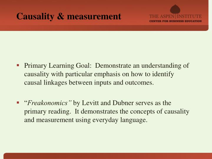 Causality & measurement