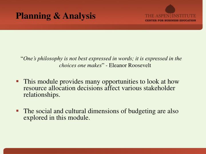 Planning & Analysis