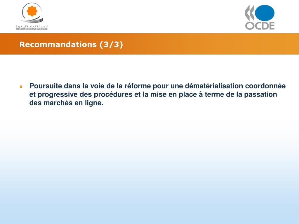 Recommandations (3/3)