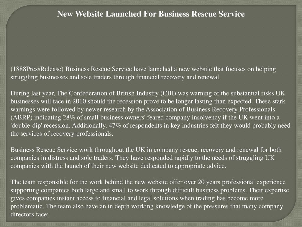 New Website Launched For Business Rescue Service