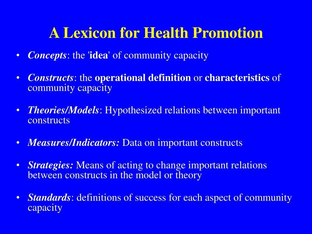 theories of health promotion Health promotion is a separate profession in 4 out of ii countries physicians are responsible for health promotion and education in all ii countries school was identified as a health promotion setting in all 11 countries, while commu.
