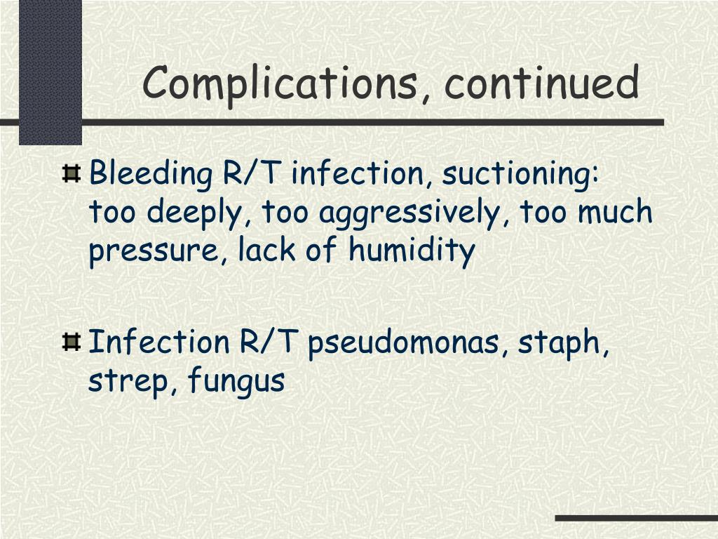 Complications, continued
