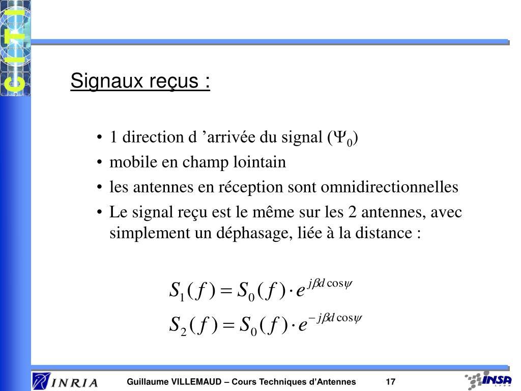 Signaux reçus :