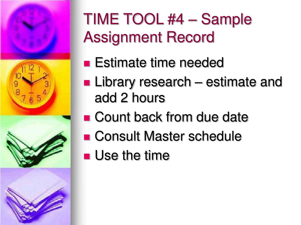 TIME TOOL #4 – Sample Assignment Record