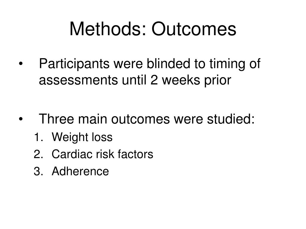 Methods: Outcomes