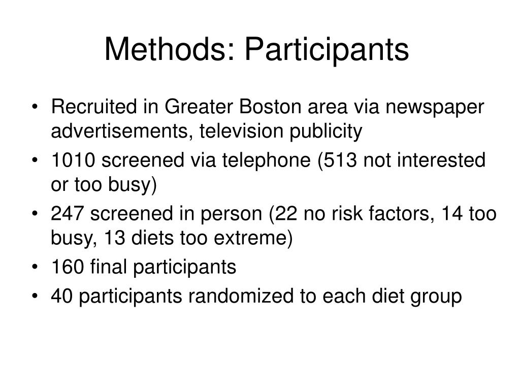 Methods: Participants