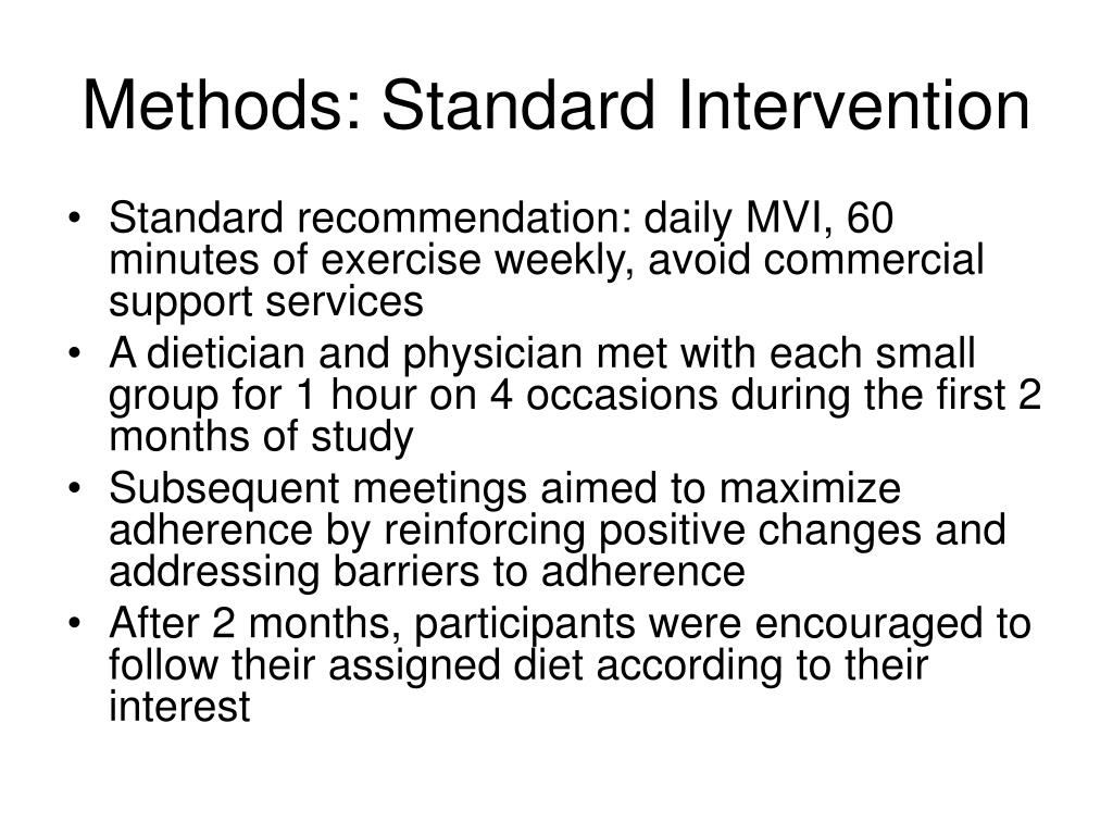 Methods: Standard Intervention
