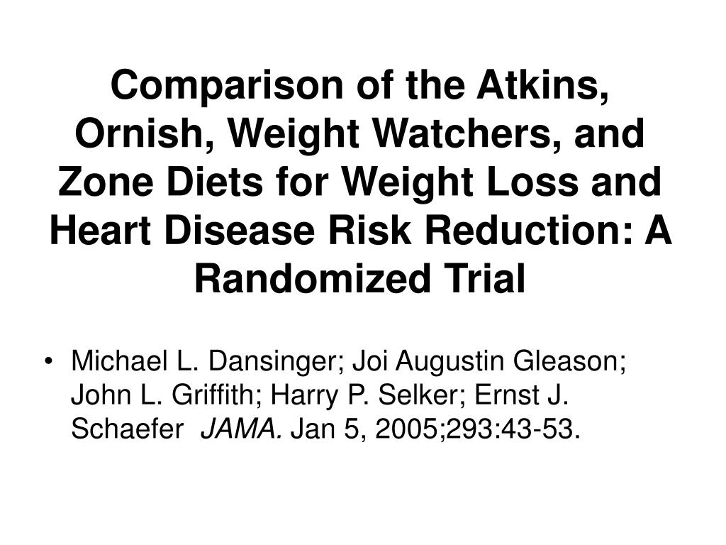 Comparison of the Atkins, Ornish, Weight Watchers, and Zone Diets for Weight Loss and Heart Disease Risk Reduction: A Randomized Trial