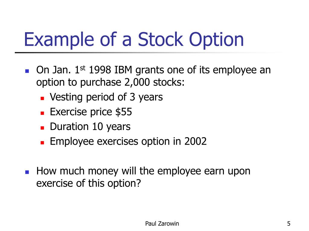 Stock index options example
