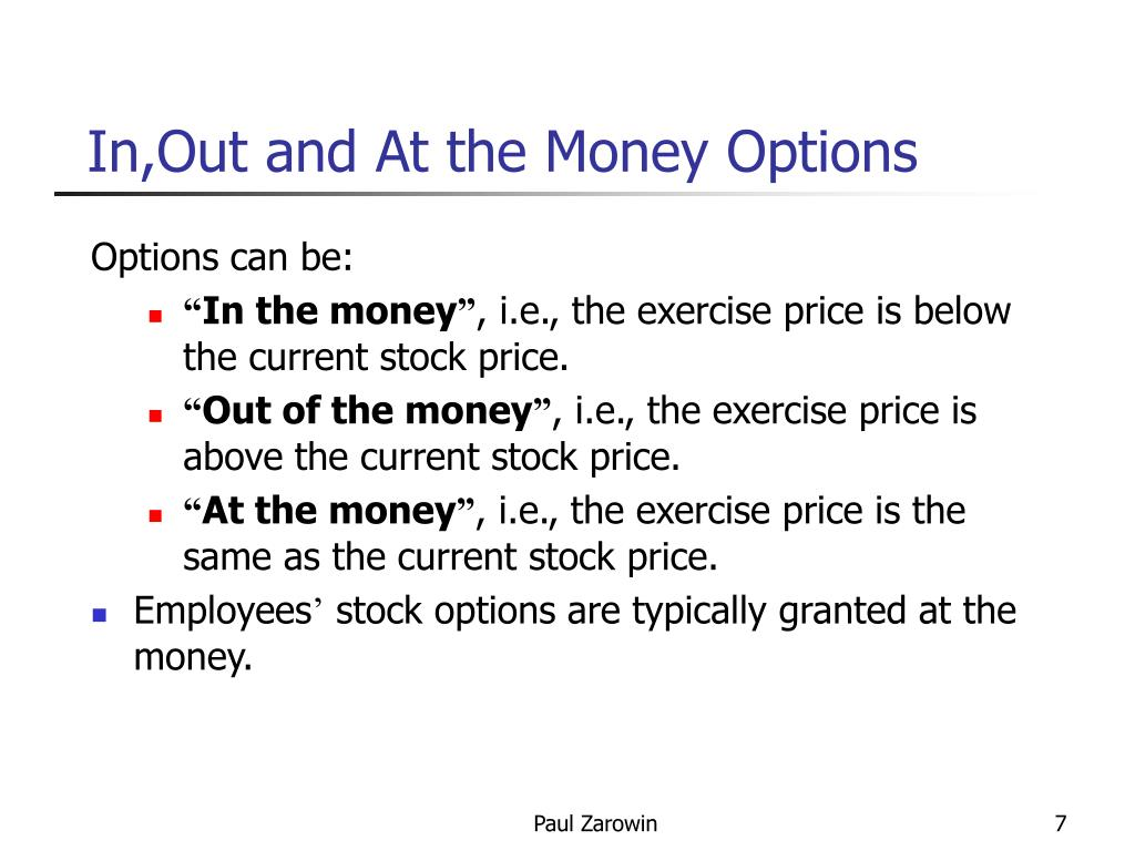 Stock options in the money out of the money
