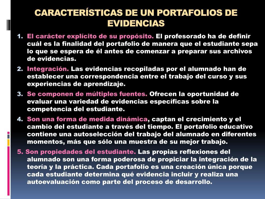 CARACTERÍSTICAS DE UN PORTAFOLIOS