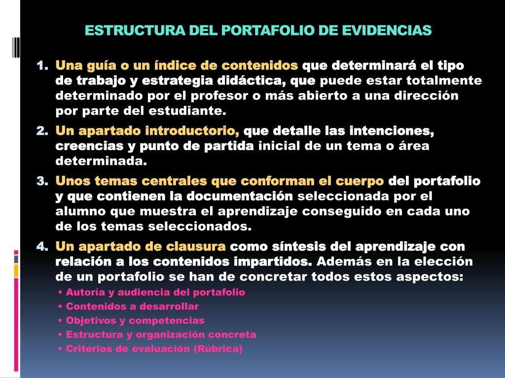 ESTRUCTURA DEL PORTAFOLIO DE EVIDENCIAS